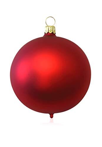 Kugeln rot matt 4 Stück d 10cm Christbaumschmuck Weihnachtsbaumschmuck mundgeblasen Lauschaer Glas das Original