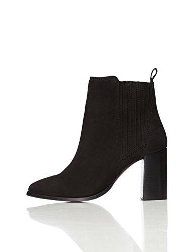 find. Stiefel Damen mit Rauleder und hohem Absatz, Schwarz (Black), 38 EU