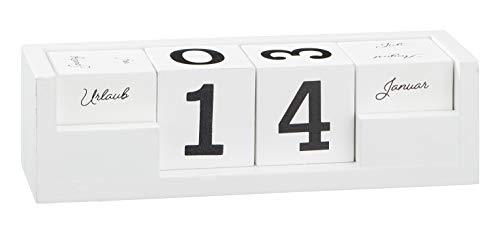 Wieczny kalendarz stołowy kalendarz drewniany, 5-częściowy, do domu, biura, dekoracja stołu, biurka, dekoracja, kolor biały