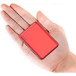 Vancaly Powerbank 10000mAh Caricabatterie Portatile,Ultra-Compact Mini Batteria Esterna Carica Veloce Batteria Portatile con 2 USB Porte (rosso)
