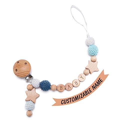 Mamimami Home Chupete Cadena Clips Azul Crochet Bead Nombres de Letras Múltiples Personalizados para Niños y Niñas Cadena de Chupete de Animales de Madera Personalizada (Pentagrama de Bebé)