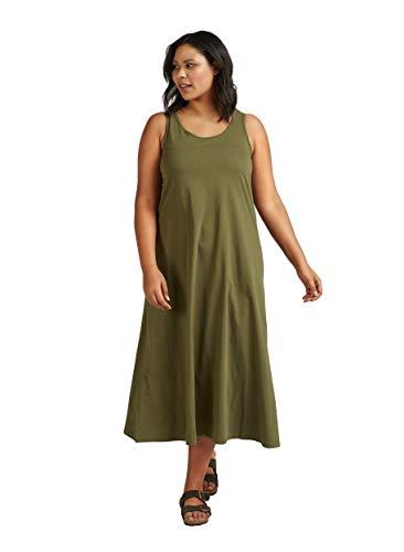 Zizzi Damen Jersykleid Ärmellos Loose Casual 7/8 Langes Kleid Große Größen 46-48 Grün