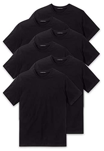 Schiesser 6er Pack American T-Shirt - Rundhals o. V-Neck - M-XXXL, Schwarz o. Weiss (Schwarz (Rundhals), XXXL (Herstellergröße: 9))
