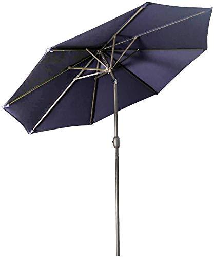 Aok Garden - Paraguas de jardín de 2,72 m, con botón de inclinación y manivela, 8 costillas resistentes a la decoloración para mesa de patio, mercado, cubierta, azul oscuro