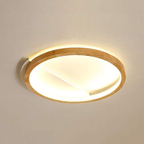 LED Moderno Madera Lámpara de techo redondo Regulable con control remoto Lámpara de sala Luz de Techo Blanco acrílico Pantalla de lámpara Comedor dormitorio comedor Pasillo salón Lámpara de madera,B