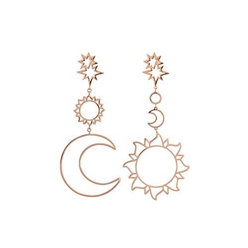 SMENGG Orecchini Orecchino della Vite Prigioniera Moda Donna Bohemia Star Sun Moon Cavi Metallo Lega Vintage Geometry