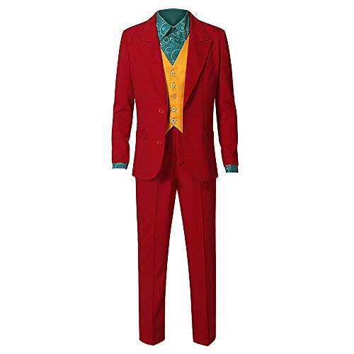 Red ROSEY Costume da Joker Halloween Cosplay Party Outfit Arkham Asylum Costume per Uomo Adulto Uomo Costume da Cavaliere Camicia da Clown Gilet Tie Outfit Cappotto Set di Costumi Abito da Sera