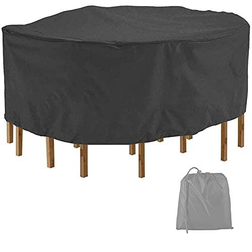 Patio-Set-Abdeckungen wasserdichte runde Gartenmöbel-Abdeckungen Hochleistungs-Außenschutzabdeckungen für Garten-Rasenmöbel-Sets Anti-UV-Winddicht Schwarz 140X110Cm