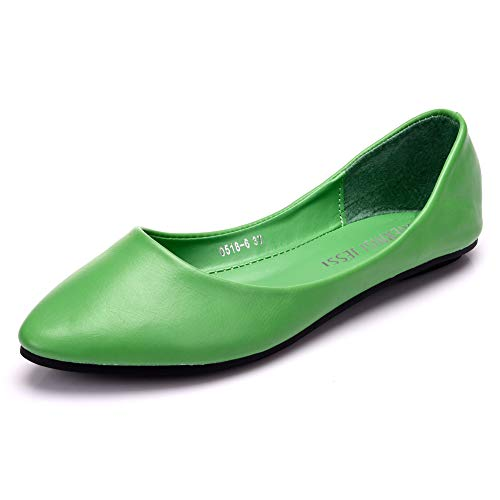 MAIERNISIJESSI Women's Pointed Toe Ballet Flat Cute Casual Comfort Shoes Emerald Green 39 - US 7.5