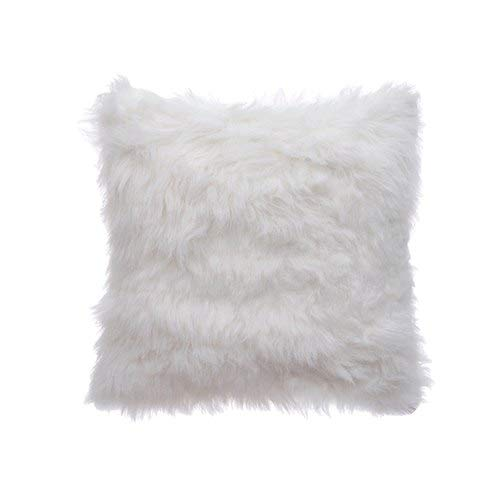 Indian Crafty Vibes Cushion Cover Faux Fur Decorative Home Décor Case Square Pillow Throw- 1 Pc- White