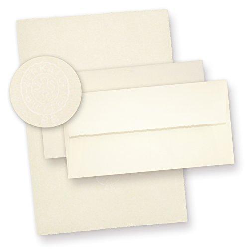 Echt Bütten Briefpapier A4 mit Umschläge (20 Sets) 20 Blatt Büttenpapier mit Wasserzeichen A4 und 20 Briefumschläge von Zerkall, fein gerippt, in Präsentmappe