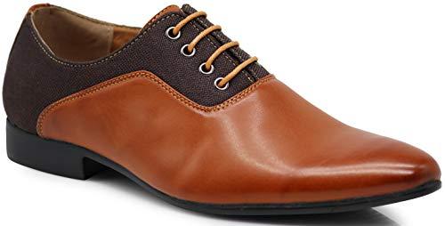 MP05 Men's Patent Tuxedo Gloss Formal Lace Up Oxfords Dress Shoes (8.5, Cognac)