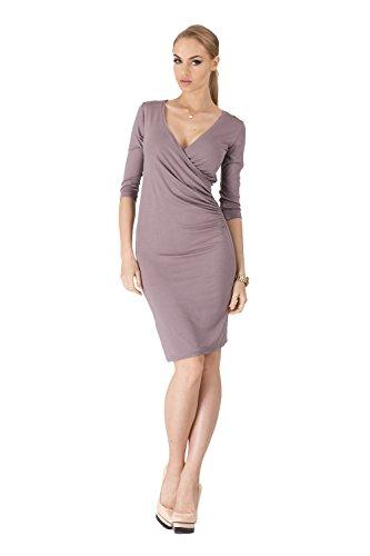 Jurk V-hals zomerjurk mini jurk 3/4 arm in 10 kleuren maat 36 38 40 42 44 46, 8985