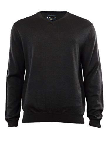 Club Room Men's Merino Wool Blend V-Neck Sweater (M, Ebony Heather)