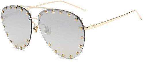 ZYIZEE Gafas de Sol Gafas de Sol de aviación marrón Degradado para Mujer con Remache Completo Gafas de Sol de Moda para Mujer Puntos de Espejo Sombras-C3_Gold_Silver