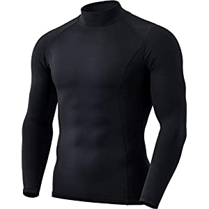 (テスラ)TESLA [防寒・保温] 長袖ハイネック コンプレッションシャツ スポーツウェア [吸湿速乾・UVカット] 起毛 コンプレッションウェア ランニングウェア スポーツ シャツ 保温インナー YUT56-BLK_M