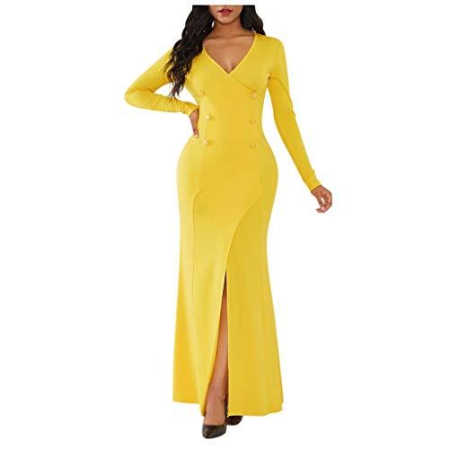 TEELONG Kleider Damen Solide sexy Bankettkleid mit V-Ausschnitt Langarm Tasche Hüfte Split Kleid Ballkleid Partykleid Cocktailkleid(S, Gelb)