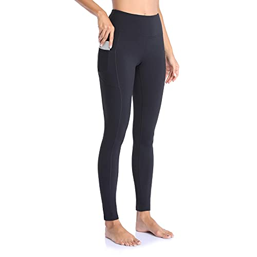 OJIRRU Leggings Donna Fitness Allenamento Opaco Vita Alta Sportivi Yoga Spandex Palestra Pantaloni Dp16(Nero L)