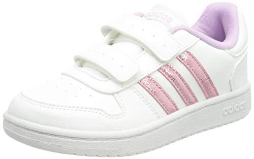 adidas Hoops 2.0 Cmf C, Scarpe da Basket, Ftwr White/Clear Lilac/Grey Two, 35 EU
