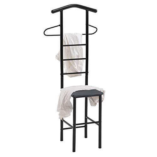 CARO-Möbel Herrendiener JIVO Stummer Diener Kleiderständer in schwarz, 121 cm, Garderobe mit Hosenbügel