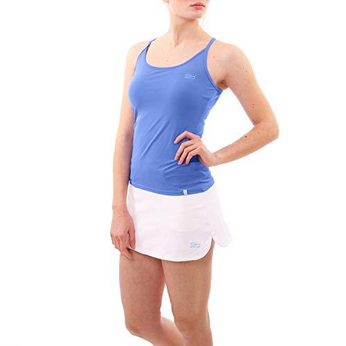 Sportkind - Camiseta de tenis para niña y mujer, fitness, yoga, tirantes de espaguetis, sujetador integrado, protección UV, Flores azules, 158