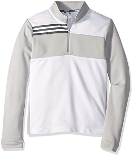adidas Golf Boys' Color Blocked Half Zip Layer, White, Medium