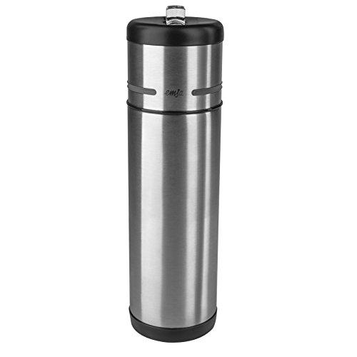 Emsa 509241 Isolier-Trinkflasche, Mobil genießen, 500 ml, Integrierter Trinkstutzen, Schwarz-Anthrazit, Mobility