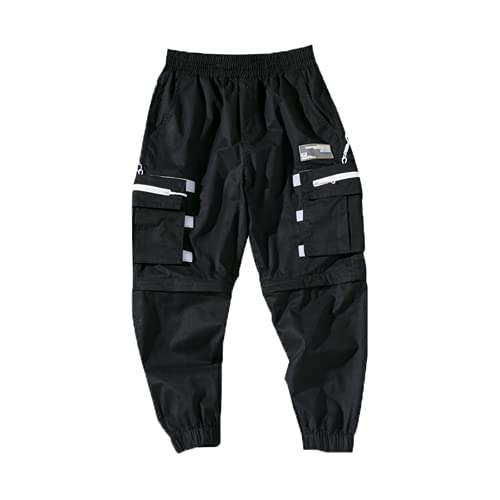 USTZFTBCL Streetwear Pantalones de Carga Hombres Casual Harajuku Harem Pantalones Joggers Pantalones Black Hiphop Sweetpants Primavera Otoño Black Chinese Size S