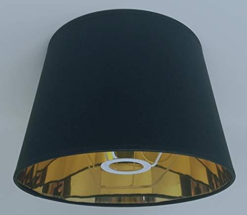 Paralume per lampada da tavolo, diametro 25cm, in stile impero, colore nero/bianco, con fodera dorata, fatto a mano moderno Nero