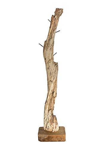 Junado SAM® Garderobe Hakon aus Teakholz, naturbelassen, Garderobenständer aus Massivholz, einzigartiges Unikat, Kleiderständer ca. 40 x 25 x 185 cm