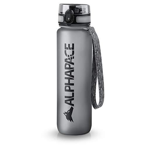 ALPHAPACE Trinkflasche, auslaufsichere 1.000 ml Wasserflasche, BPA-freie Flasche für Sport, Fahrrad & Outdooraktivitäten, Sportflasche mit Fruchteinsatz, in Grau