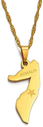 NONGYEYH co.,ltd Collar Collar Mapa pequeño de Somalia Collar para Mujer/niña Colgante de joyería de Color Dorado Mapas del país de Somalia
