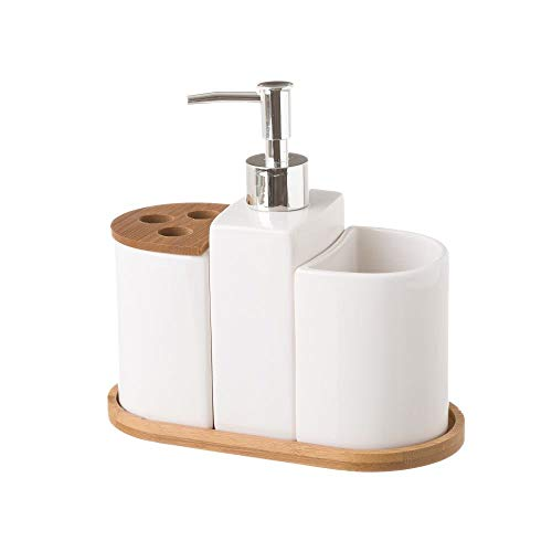 Dispensador y portacepillos de baño de cerámica Blanco nórdico para Cuarto de baño Fantasy - LOLAhome