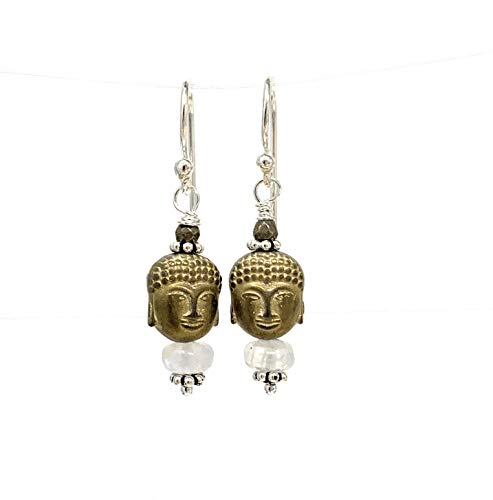 Buddha Earrings with Moonstone, Pyrite and Sterling Silver, 1.5 inch
