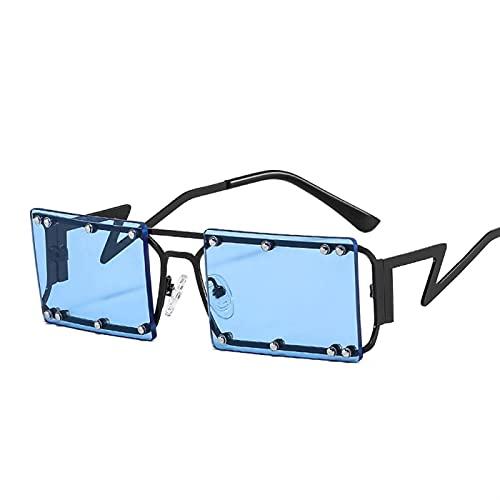 YSJJLRV Lentes de Sol Nuevo rectángulo Gafas de Sol Mujeres Hombres Remache decoración Cuadrada Metal Marco pc Colorido Lente Lujo diseñador Moda UV400 (Frame Color : Other, Lenses Color : C6)