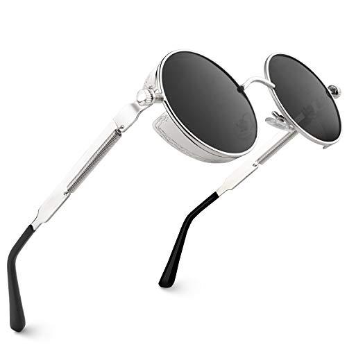 CGID Retro Sonnenbrille im Steampunk Stil runde Metallrahmen Polarisiert Brille Herren Damen Silber Rahmen Graue Gläser, CAT3, CE, E72