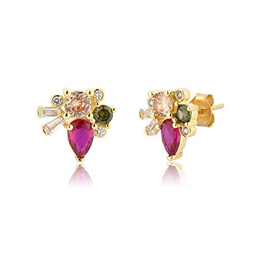 Pendiente de botón grande de plata de oliva con champán de plata 925, Piercing de cristal de lujo para mujer, joyería bonita de moda Ohringe-Rose Red