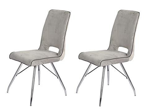 Meubletmoi – Juego de 2 sillas de terciopelo gris y patas de acero cromado – Comodidad y calidad – Diseño contemporáneo vintage – Bella
