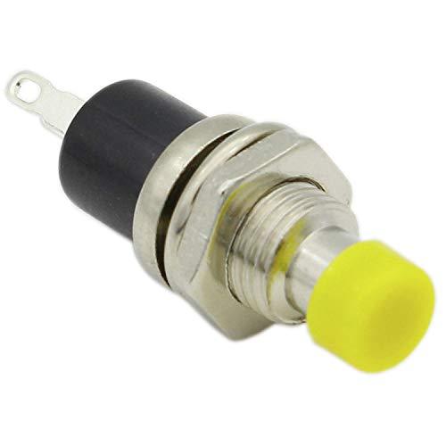 10 x 7 mm Interruptor de botón momentáneo de 2 pines mini botones ON/OFF con forma redonda Tensión nominal 3C/36V Color Amarillo