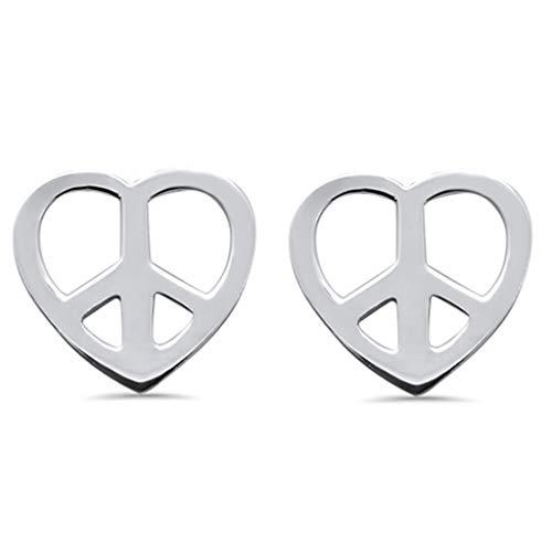 Pendientes de tuerca de plata de ley con símbolo de la paz y símbolo de la paz