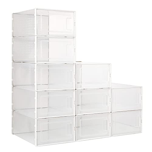 FEMOR Caja de zapatos pequeña, 10 unidades, caja de plástico con marco blanco, adecuado para zapatos de un tamaño de 45 o menos, transparente, apilable, puerta abierta, fácil de montar