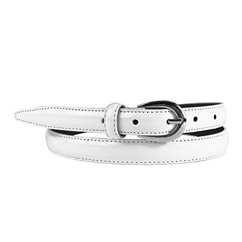 Mix Your Beauty MYB Cintura Donna in vernice - Vera Pelle Made In Italy - 20 mm - diversi colori e taglie disponibili (95-110 cm, Bianco)