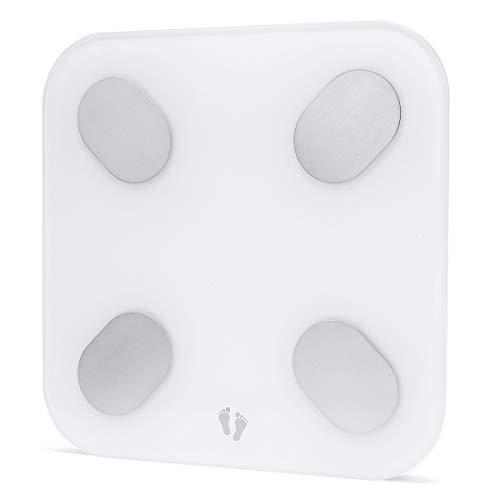 EgBert Mini M1501 Bluetooth Cuerpo De La Escala De La Grasa del Cuerpo De La Báscula De La Escala del Monitor IMC Y Bmr App Compatible con Dispositivos Apple & Android - Blanco - International Ver