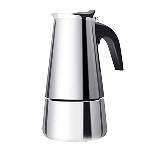 Mrisata Coffee Pot, Portable Stainless Steel Coffee Pot European Style Mocha Coffee Pot Thick Stainless Steel Anti-Scalding Coffee Pot Suitable for All Kinds of Stoves