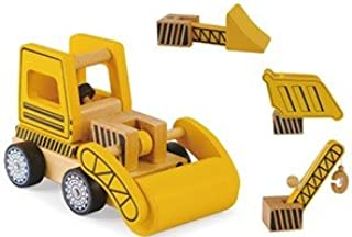 Wooden Construction Vehicles Set - Take Apart Toy - 6 Piece Set - Digger/Bulldozer/Dump Truck - Fun Educational Building T...