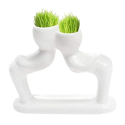 Mini Bonsai Tree Doll Head Grass Hair White Cer...