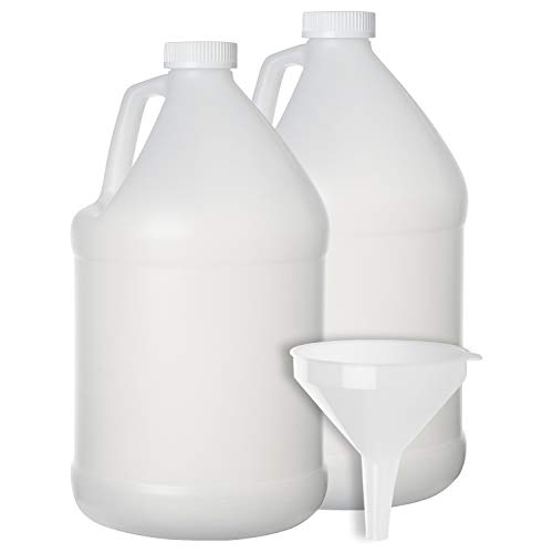 2 Pack - 1 Gallon Plastic Bottle - Large Empty Jug Style Container with Child Resistant Airtight Lids - for Home and Commercial Use - Food Safe BPA Free