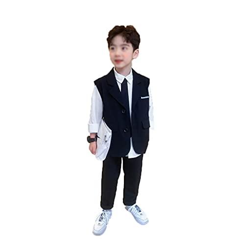 DUOER home Traje de niño Nuevo, Chaleco Infantil + Pantalones de Primavera y otoño Traje de Dos Piezas para 3-12 años de Edad (Color : Black, tamaño : 150 Yards)
