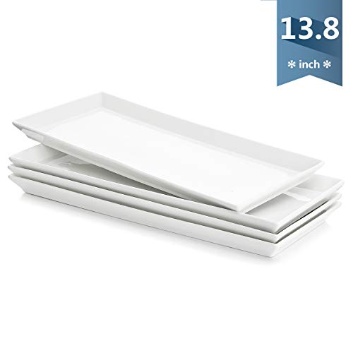 Sweese 702.101 Rectangular Porcelain Platters, Serving Trays for Parties - 13.8 Inch, Set of 4, White