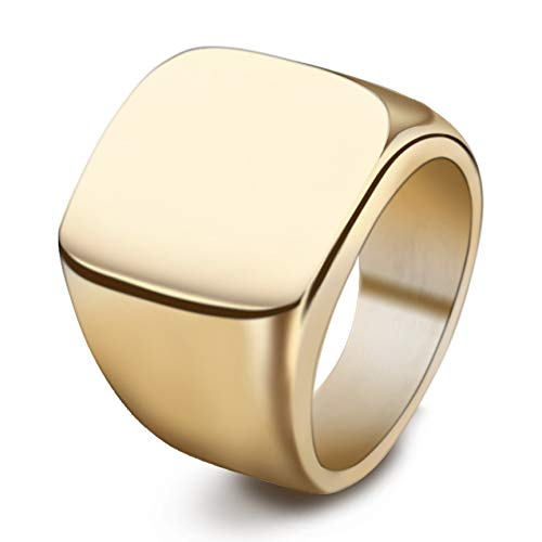 BGSH Steel Titanium Retro Solid Full Glossy Titanium Steel Ring No. 7 Gold Ring for Women Girls Sisters Friends Meaningful Jewelry Gift
